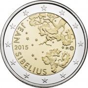 Финляндия 2015 2 евро 150 лет Яна Сибелиуса