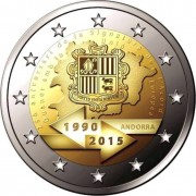 Андорра 2015 2 евро 25 лет таможенному союзу