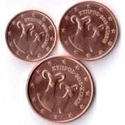 Кипр Набор 3 монеты евро 2015 (1-5 центов)