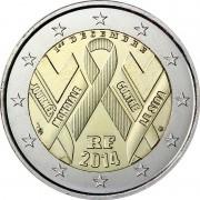 Франция 2014 2 евро Всемирный день борьбы со СПИДом