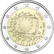 Литва 2015 2 евро 30 лет флагу Европейского союза