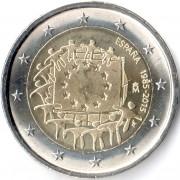 Испания 2015 2 евро 30 лет Флагу Европы ЕС