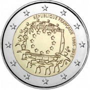 Франция 2015 2 евро 30 лет флагу Европейского союза