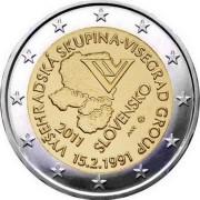 Словакия 2011 2 евро 20 лет Вишеградской группы