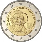 Франция 2012 2 евро Аббат Пьер