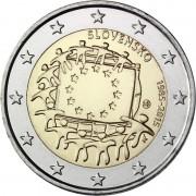 Словакия 2015 2 евро 30 лет флагу Европейского союза