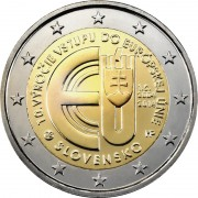 Словакия 2014 2 евро 10 лет вступления в Евросоюз
