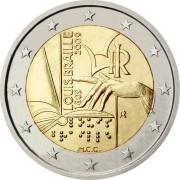 Италия 2009 2 евро Луи Брайль