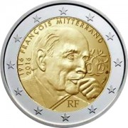 Франция 2016 2 евро Франсуа Миттеран