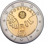 Португалия 2014 2 евро 40 лет Революции гвоздик