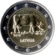 Латвия 2016 2 евро Корова Сельское хозяйство