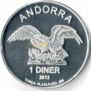 Андорра 2013 1 динер Орел (серебро) 1oz
