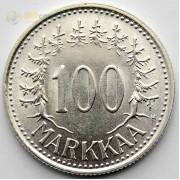 Финляндия 1958 100 марок (серебро)