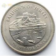 Джерси 1977 25 пенсов 25 лет правления Елизаветы II