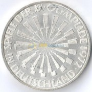 ФРГ 1972 10 марок Олимпиада эмблема (серебро)