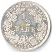 Германия 1914 1/2 марки A (VF-XF)