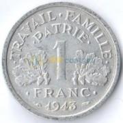 Франция 1943 1 франк
