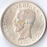 Швеция 1938 2 кроны Король Густав V (серебро)