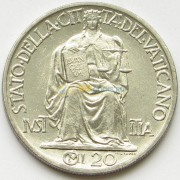 Ватикан 1942 20 чентезимо Статуя Правосудия
