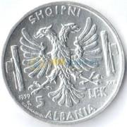 Албания 1939 5 лек Итальянская оккупация