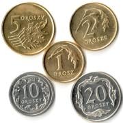 Польша набор 5 монет 1990-2014 Гроши
