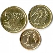 Польша набор 3 монеты 2014 Гроши новые