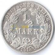 Германия 1918 1/2 марки J (VF-XF)
