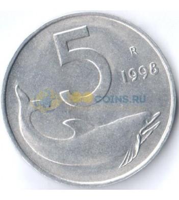 Италия 1998 5 лир Дельфин