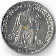 Ватикан 1942 1 лира Статуя Правосудия