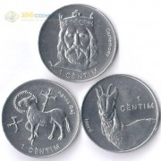 Андорра 2002 1 сентим набор 3 монеты