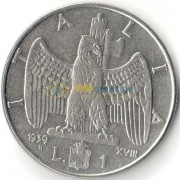Италия 1939 1 лира Виктор Эммануил III