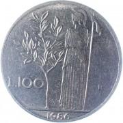 Италия 1986 100 лир Богиня мудрости Минерва