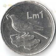 Мальта 2000 1 лира Синий каменный дрозд