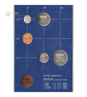 Нидерланды 1982 набор 5 монет и жетон в пластике