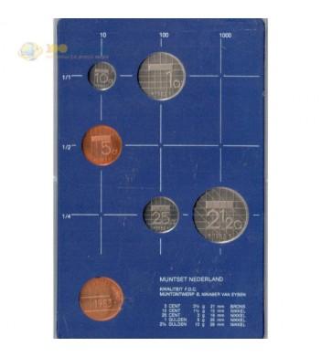Нидерланды 1983 набор 5 монет и жетон в пластике
