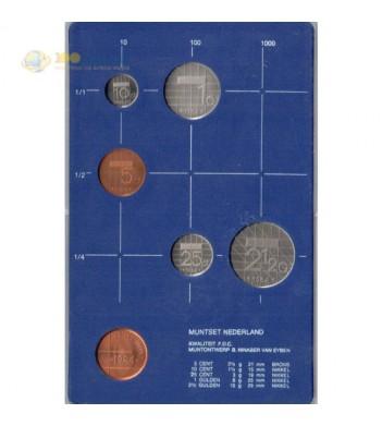 Нидерланды 1984 набор 5 монет и жетон в пластике