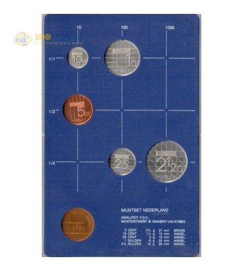 Нидерланды 1986 набор 5 монет и жетон в пластике
