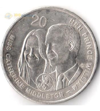 Австралия 2011 20 центов Королевская свадьба