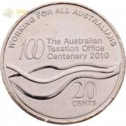 Австралия 2010 20 центов 100 лет налоговому Управлению