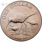 Новая Зеландия 1985 1 доллар Черный ходулочник