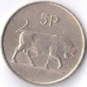 Ирландия 1969-1990 5 пенсов Бык