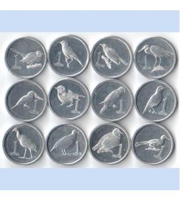 Самоа 2020 набор 12 монет Птицы