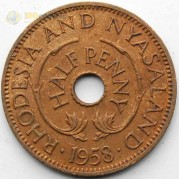 Родезия и Ньясаленд 1958 1/2 пенни