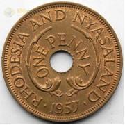 Родезия и Ньясаленд 1957 1 пенни