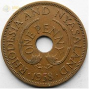 Родезия и Ньясаленд 1958 1 пенни