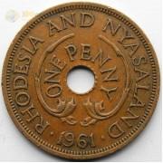 Родезия и Ньясаленд 1961 1 пенни