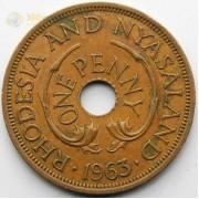Родезия и Ньясаленд 1963 1 пенни