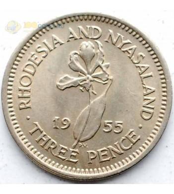 Родезия и Ньясаленд 1955 3 пенса