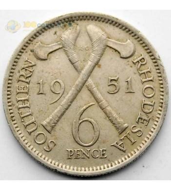 Южная Родезия 1951 6 пенсов Георг VI