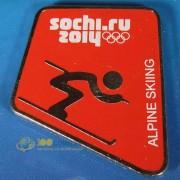 Значок Сочи 2014 Пиктограммы Горные лыжи